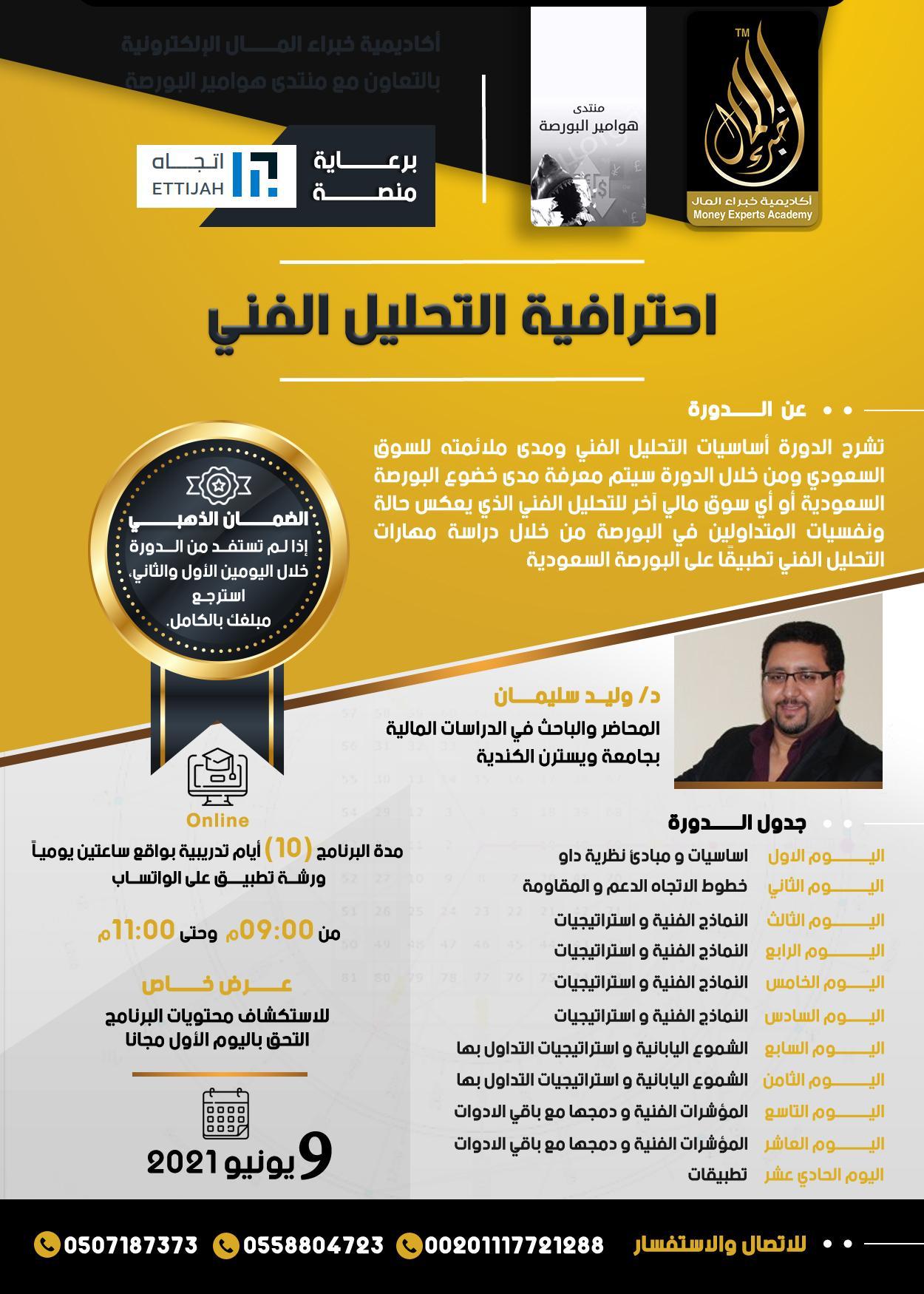 إحترافية التحليل الفني فى السوق السعودي يقدمها د.وليد سليمان 9 يونيو