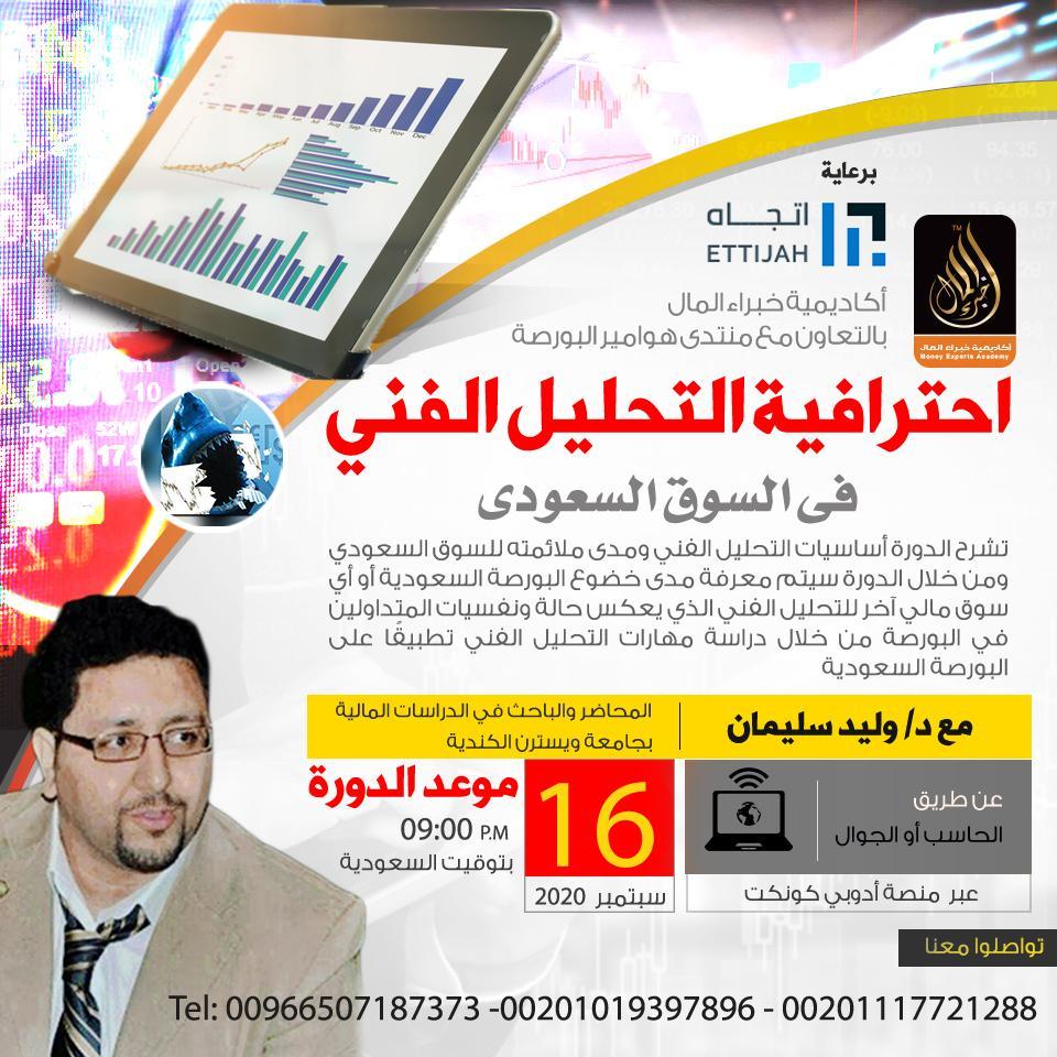 إحترافية التحليل الفني فى السوق السعودي يقدمها د.وليد سليمان 16 سبتمبر