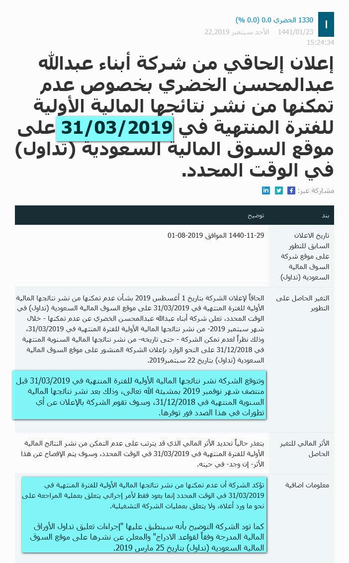 استمرار تعليق سهم الخضري لعدم تمكنه من نشر النتائج السنوية والربع الاول