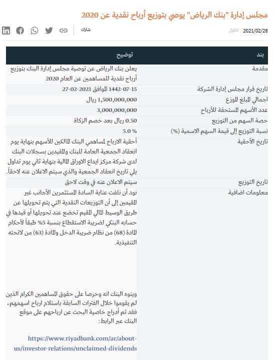 الف مبروك بنك الرياض يوزع ارباح عن عام 2020