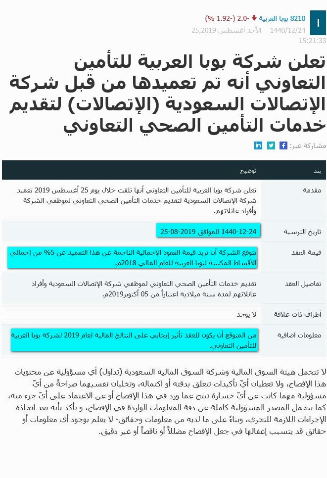بوبا العربية للتأمين التعاوني